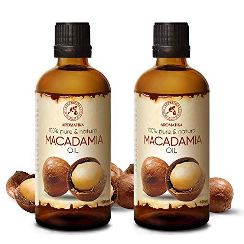 Olio di Macadamia - 2x100ml - Macadamia Integrifolia - Olio Vegetale Puro - Oli di Noci di Macadamia - Olio Vettore - Cura del Viso - Olio per Capelli - Olio per...