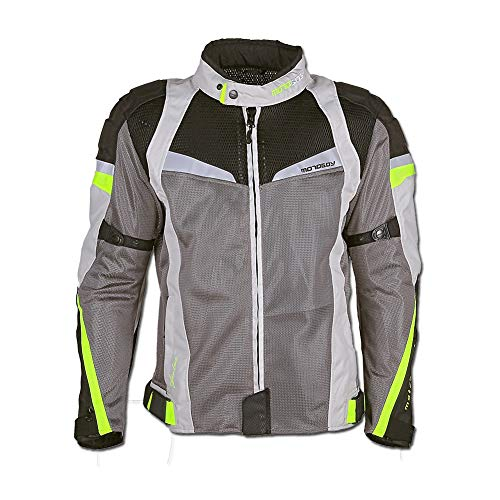 Summer Motorcycle Riding Jacket,Mesh Breathable CE Armored Anti-Impact Clothing for Men (Grey, 3X-Large)