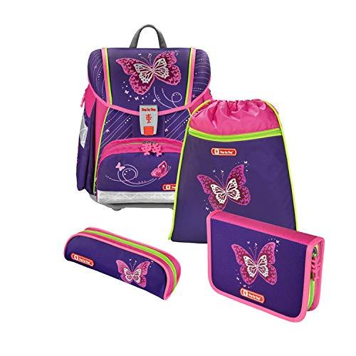 """Step by Step Schulranzen-Set Touch 2 """"Shiny Butterfly"""" 4-teilig, lila-rosa, Schmetterling-Design, ergonomischer Tornister mit Reflektoren, höhenverstellbar für Mädchen 1. Klasse, 21L"""