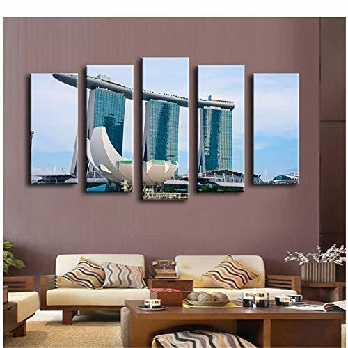 A&D Buchung Pool Casino Singapur Wandmalerei für Wohnkultur Ölgemälde Wand Kunstdruck Leinwand, Wandbild, No Framed-30x40 30x60 30x80cm No Frame
