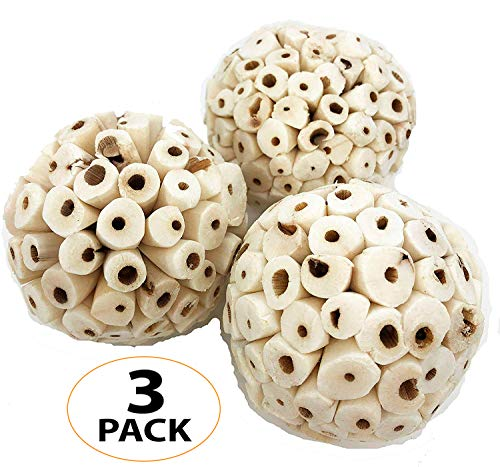 Bonka Bird Toys 1214 pk3 Sola Atta Balls Foot Beak Chew Forage Natural Organic Small Pet Ball
