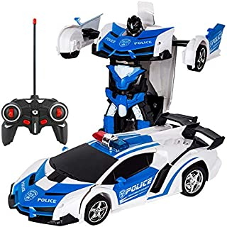 Electric Vehicle Toy Stunt Cars Shape-shift Model Car Hongfutong One Touch Transforming RC Car Robot blue
