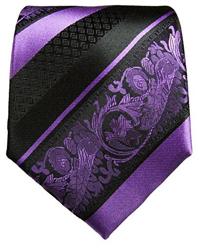 Cravate violet noir rayée ensemble de cravate 3 Pièces (100% Soie Cravate + Mouchoir + Boutons de manchette)