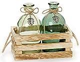 HEITMANN DECO Holzkiste mit 2 Glasvasen - Tischdeko - Vasen-Set in Deko-Kiste - Blumenvase mit Juteseil - Frühlingsdeko - Grün