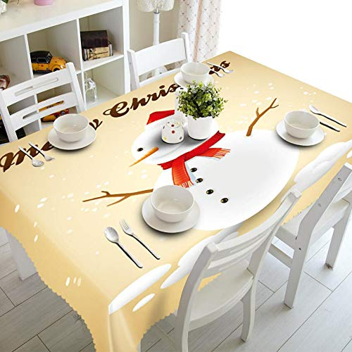 XXDD Home decoration 3d tablecloth cute snowman theme pattern washable cotton and round new year tablecloth A14 135x200cm
