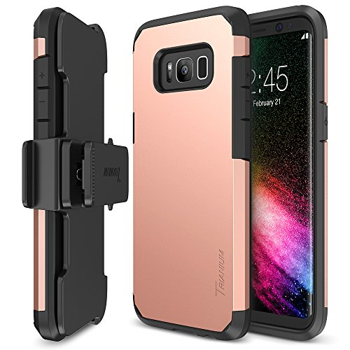 Trianium Duranium Series Holster Case Compatible with Samsung Galaxy S8 Plus with Heavy Duty Premium Protective Kickstand + Extreme Shock Absorption S8 Plus Case 2017 - Rose Gold