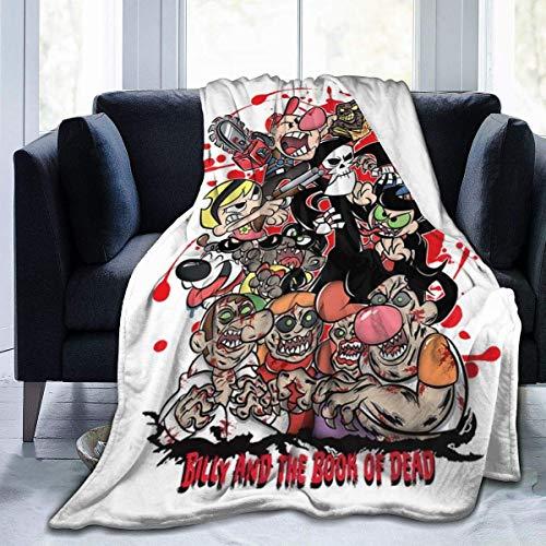 zhenglongbaihuodian Grim Adventures of Bill e Mandy Billy And The Book of The Dead Fleece Flanella Coperta da tiro Leggera Coperta da Letto Calda Ultra Morbida Adatta per Divano Adatto