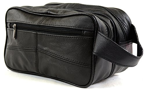 Bolsa de aseo para hombre, de piel, para artículos de aseo personal / viaje / vacaciones / pasar la noche fuera / fin de semana (color negro o marrón) negro negro
