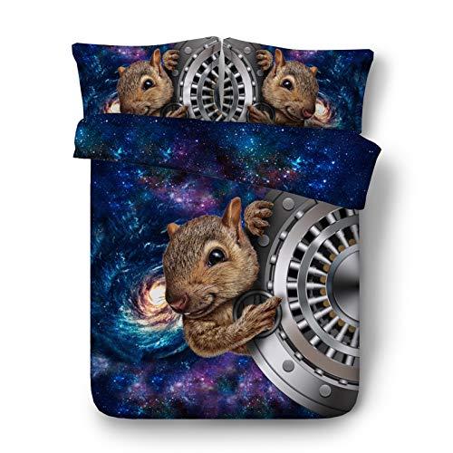KORANGE Squirrel Duvet Cover with 2 Pillowcases 3 Pieces Bedding Microfiber Zipper Closure (Size : Full/Queen 200x225cm (79' x 89'))