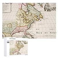 INOV 早い(1708年)アメリカ 地図 ~ ヴィンテージ ジグソーパズル 木製パズル 1000ピース インテリア 集中力 75cm*50cm 楽しい ギフト プレゼント