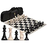 Yellow Mountain Imports Regulation Tournament Roll-Up Staunton Chess Set (50cm) with Travel Bag
