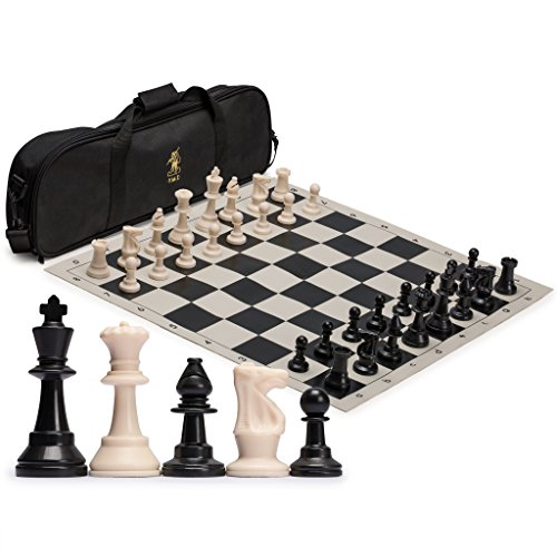 Yellow Mountain Imports Regulation Tournament Roll-Up Staunton Chess Set (19.75-Inch) with Travel Bag, 2 Extra Queens, and Weighted Chessmen - Black