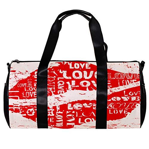 Runde Sporttasche mit abnehmbarem Schultergurt, Design: Love Red Kiss Concept Training Handtasche für Damen und Herren