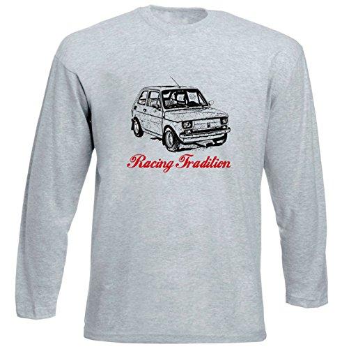 TEESANDENGINES Fiat 126 P Racing P Tshirt da Uomo Grigia con Manica Lunga Size XLarge