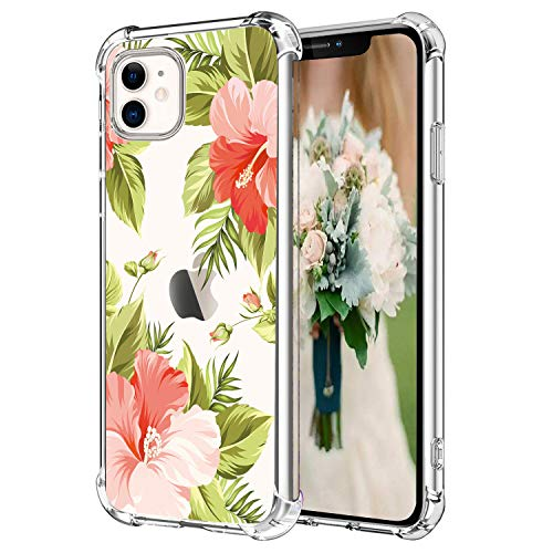 Hepix Floral Clear iPhone 11 Case Flowers Tropical Leaves 11 iPhone Cases, Slim Crystal Flexible Soft TPU with Protective Bumpers Anti-Scratch Shock Absorption for iPhone 11 (2019) 6.1'