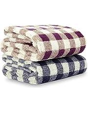 CITÉTOILE Juego de 2 toallas de baño de 100 % algodón, clásicas, muy absorbentes y suaves, para familias, 75 x 34 cm