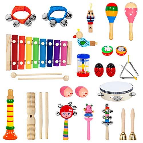 AILUKI Set di 24 strumenti musicali in legno Percussione Set di percussioni Giocattolo per bambini Strumento per la digitazione musicale Punta dello strumento Xilofono educativo per ragazza e ragazzo