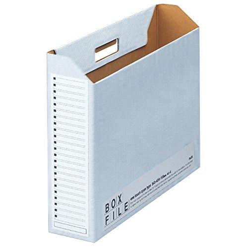 プラス ファイルボックス ダンボール エコノミー 5冊 A3横 背幅100mm 77-887 ブルー