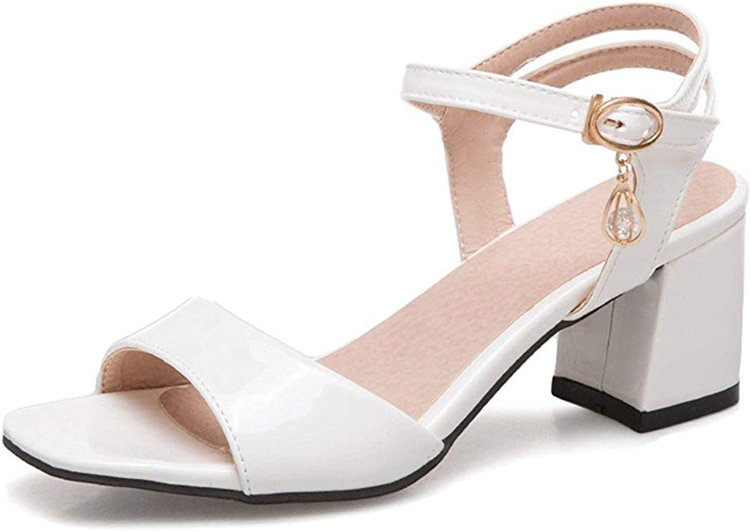 Unm Women's Comfort Simple Open Toe Mid Block Heel Burnished Dressy Ankle Strap Sandals with Buckle