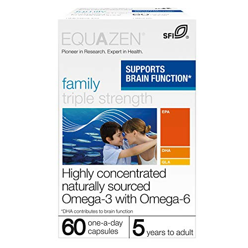 Equazen Triple Strength Capsules |Omega 3 & Omega 6 Supplement | 60 one-a-day capsules | Clinically Researched blend of DHA, EPA and GLA | Suitable for children from 5 years to adult