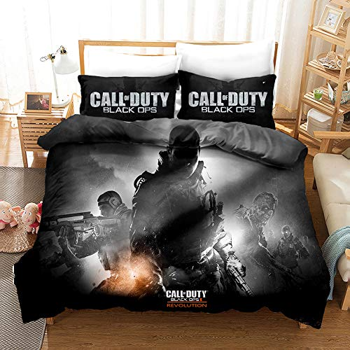 Call of Duty Juego de Ropa de Cama 3 Piezas Juego de Funda de edredón 200x200 cm 2 Fundas de Almohada 50x75 cm 3D con estampado de Microfibra Niños Niñas Funda Nórdica con Cierre de Cremallera