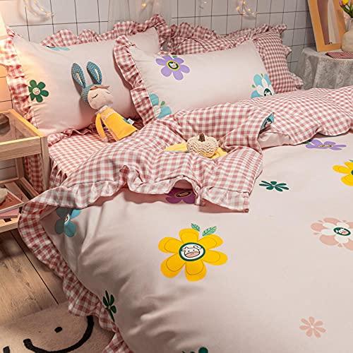 juego de funda de edredón 3d,Falda de cama 4 trimestres, microfiñas dibujadas sin planchas, desvanecimiento antiarrugas y ropa de cama de alergia baja (rey, gris oscuro)-O_200 * 230cm (79 * 91 pulgad