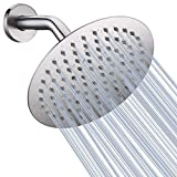High Pressure Shower Head, 8 Inch Rain Showerhead, Ultra-Thin Design- Pressure Boosting, Awesome Shower Experience, NearMoon High Flow Stainless Steel Rainfall Shower Head (Brushed Nickel)