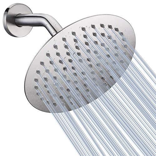 Cabezal de ducha de alta presión, cabezal de ducha de lluvia de 8 pulgadas, diseño ultrafino, aumento de presión, impresionante experiencia de ducha, cabezal de ducha de acero inoxidable de alto flujo NearMoon (níquel cepillado)