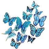 Kamiya 24 piezas 3D Mariposas Decorativas Azul,mariposa pegatinas pared decorativas 3d,Mariposas decorativas con imán y pegatina, decoración para paredes y ventanas así como mobiliario de interior