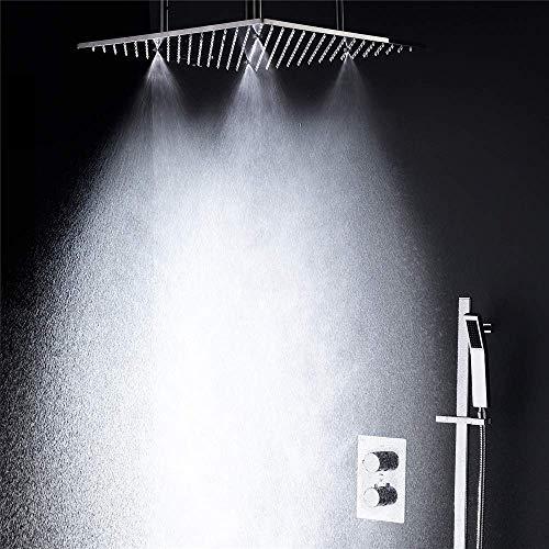 WXJLYZRCXK Wasserhahn-Badewannen-Duschsysteme 3-Wege-Badezimmer-Duschset, Edelstahl 20-Zoll-Tat-Duschkopf, Regennebel-Schiebeauslauf Mit Handbrause-Badearmaturen