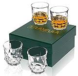 LANFULA 4er-Set Whisky Gläser, 300 ml Bleifreie Kristall Whiskey Glas, Schöne Geschenkbox