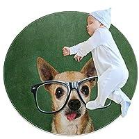 エリアラグ軽量 眼鏡をかけた流行に敏感な犬 フロアマットソフトカーペット直径31.5インチホームリビングダイニングルームベッドルーム