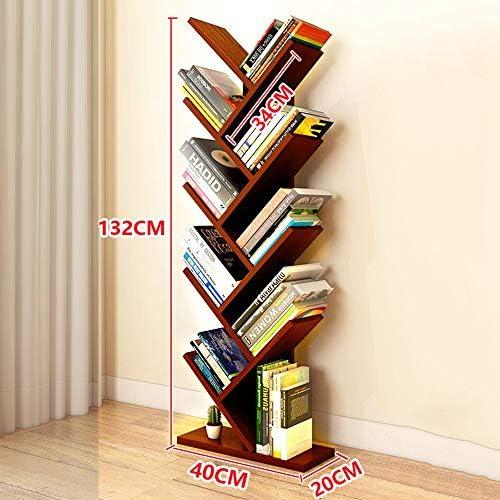 Lagerregal ZHIRONG H ernes Bücherregal-Baum-Speicher-Regal-Boden-stehender Bücherregal-Organisator für Wohnzimmer 40  20  132cm (Farbe   Dark rot)
