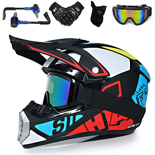 YASE Motocross Enduro Helm Herren Schutz set, Full Face Crosshelm Motorrad-Handschutz Brille Handschuhe Maske 5-in-1 kit, Offroad Enduro Downhill Helm für Moped/ATV (4 Farbe,L 56-57CM)