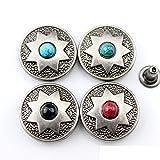 Snger DIY Cuero artesanía Estrella Piedra decoración Color Plata Billetera Remache botón y Tachuelas Set 10 Piezas