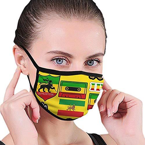 Mond Maskers Rasta Leeuw Jamaicaanse Reggae Vlag Kaart Magnetische Tape Comfortabele Kleurrijke Herbruikbare Elastische Oordopdruk Shopping School Park Mooie Volwassene