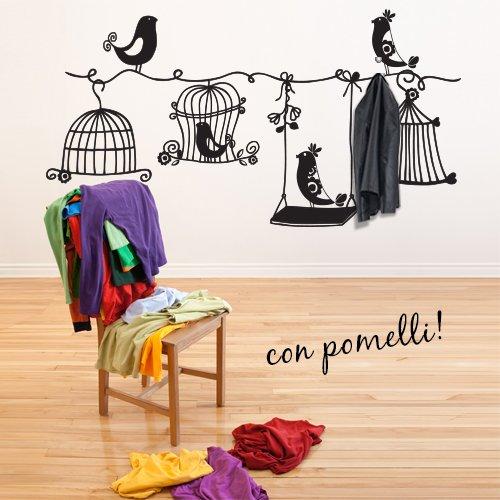 00698 Adesivi murali - Appendiabiti con gabbiette - Stickers Adesivi - 100x52 cm - Nero - Decorazione Parete, Adesivi per Muro, Carta da Parati
