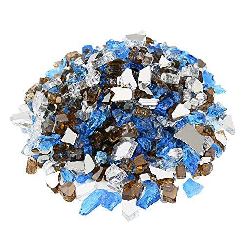 Utheer Feuerglas gemischt ultraweiß, karibikblau, kupfer reflektierend, 4,3 kg, 1,27 cm, für Innen- und Außenbereich, Feuerschalen, Vasenfüller, Gartenlandschaft, dekorativ