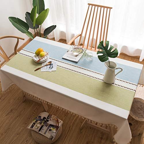 Pahajim Einfache Moderne Streifen Tischdecke Quaste Tischdecke,Baumwolle Leinen Elegante Tischdecke waschbare Küchentischabdeckung für Speisetisch (Blau-Grün Streifen,Quadrat,140x140cm)