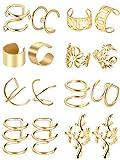 8 Paia Acciaio Inossidabile Polsino dell'Orecchio Non Piercing Clip Orecchini di Cartilagine per Uomini Donne, 8 Vari Stili (Oro)