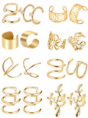 8 Paia Acciaio Inossidabile Polsino dellOrecchio Non Piercing Clip Orecchini di Cartilagine per Uomini Donne, 8 Vari Stili (Oro)