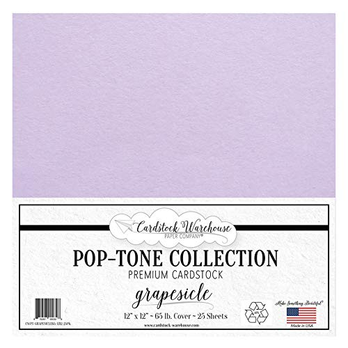 Grapesicle/Lavender/Light Purple Cardstock Paper - 12 X 12 Inch 65 Lb. Premium Cover - 25 Sheets From Cardstock Warehouse