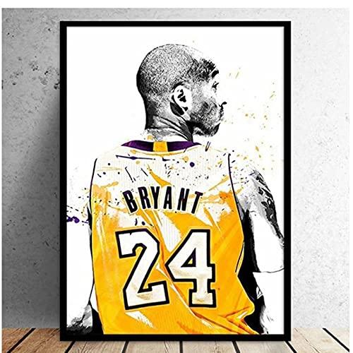 Kobe Bryant retrato figura arte de pared famoso jugador de baloncesto lienzo impresión Forever 24 póster de imagen para niño regalo decoración de habitación 60X80cm sin marco Mwypec