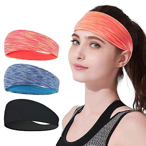 LATTCURE Diadema Deportiva, Diadema Deportiva Ligera Mujer Hombre Cinta para la Cabeza Yoga Correr Quick Dry Stretchy Banda de Cabeza, 3 Pack (Colour 2)