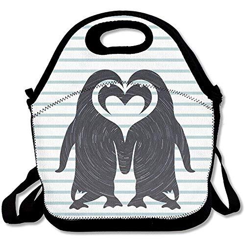 Zwei Pinguine in Love große und dicke Neopren-Lunch-Taschen, isolierte Lunch-Taschen, warme Tasche mit Schultergurt, für Damen, Teenager, Mädchen, Kinder, Erwachsene