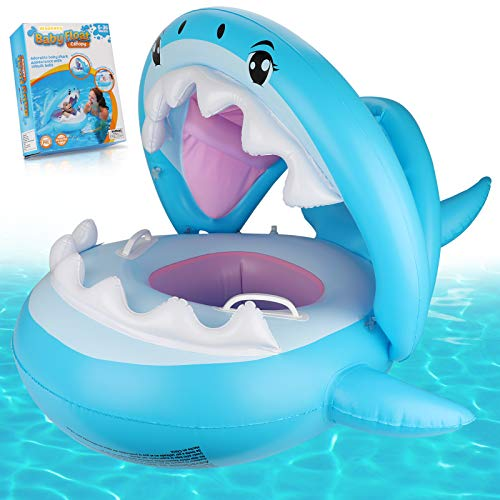 Weokeey Baby Schwimmring, Schwimmsitz Baby mit Sonnenschutz Dach Schwimmreifen Baby mit Glocken im Inneren Hai Schwimmring für Kinder ab 6 Monaten bis 36 Monaten