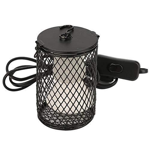 Lámpara de calor de reptil con protector Soporte de lámpara de cerámica y emisor de calor Luz de calentamiento del calentador con interruptor de encendido para tortugas pollos Reino Unido(Negro)
