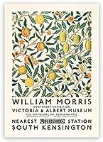 ウィリアムモリスキャンバスプリントビクトリアとアルバート展ポスターロンドン地下鉄アールヌーボー絵画壁の装飾写真40x60cmフレームなし