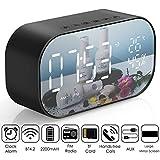 HUAQIMEI Radiowecker - Kabellose Bluetooth-Lautsprecherspiegel-LED-Wecker mit Musik-Player - Stromversorgung über USB-Kabel