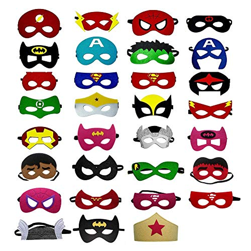 OCMCMO Máscaras de Superhéroe, máscaras disfraz superheroes niños, uguetes para Niños y Niñas , Máscaras para Niños, Kit de Valor de Cosplay de diseño de Fiesta de cumpleaños de Navidad-32 Piezas